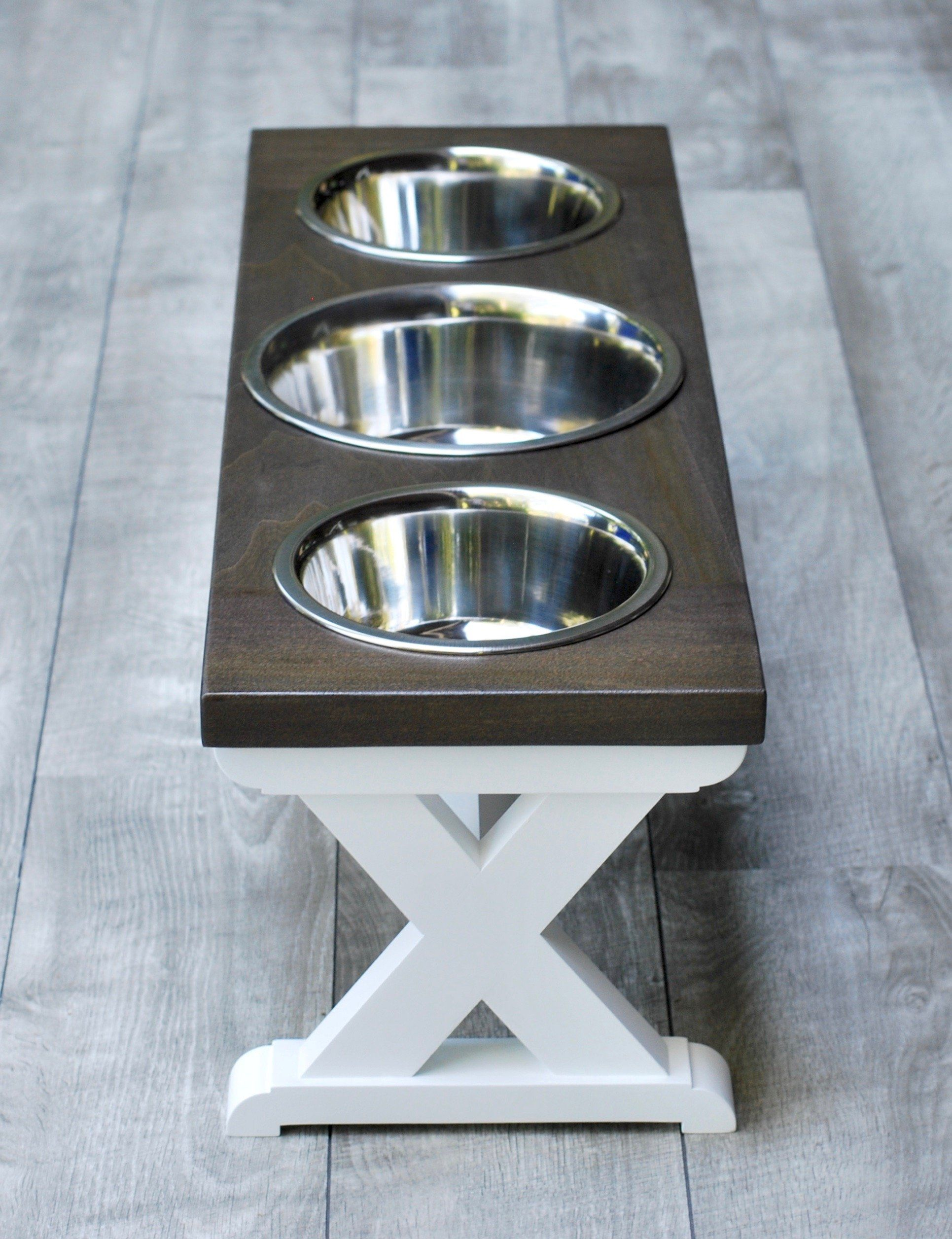 Medium Elevated Dog Bowl Stand - X Pattern Farmhouse Table - Three Bowl Stand