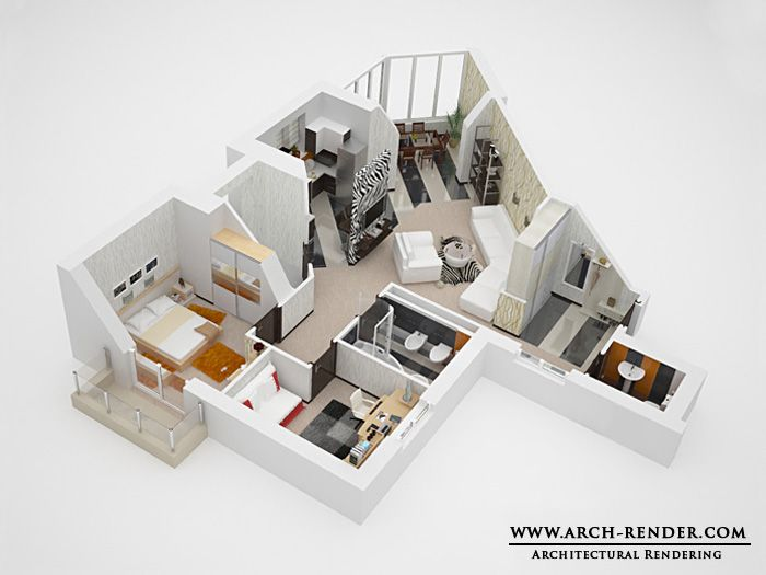3D Floor PlanHomePinterestDesign House and Apartments