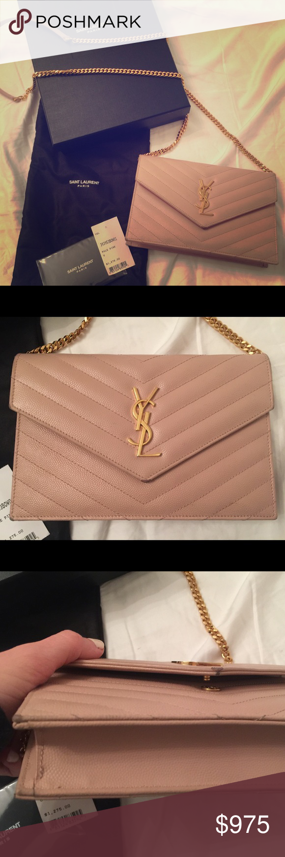 47b77b06 YSL Monogram Wallet On A Chain in Pale Pink MONOGRAM SAINT LAURENT ...