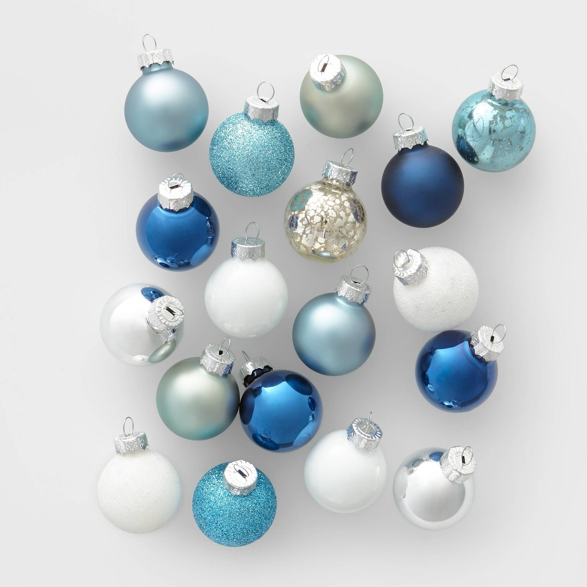 18ct Mini Glass Round Christmas Ornament Set Blue Silver