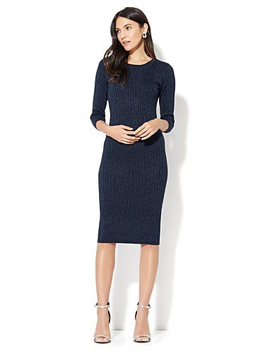 Shop Lurex Ribbed-Knit Sweater Dress. Find your perfect size online at the best price at New York & Company.