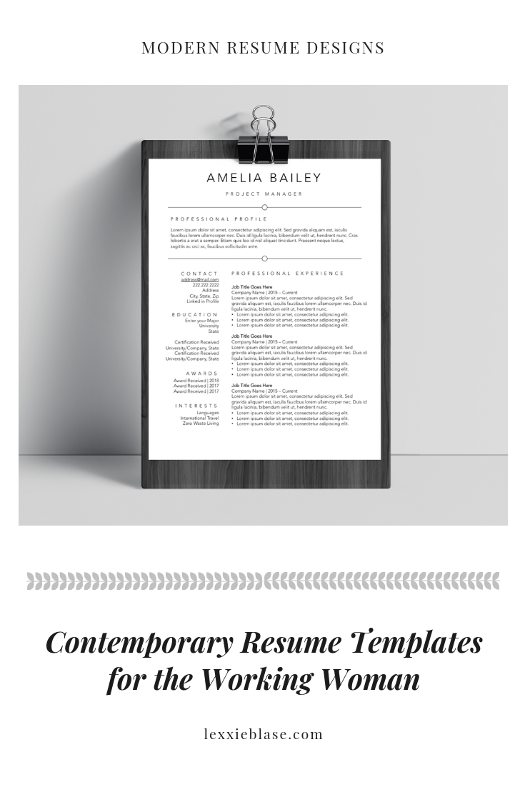 simple resume templates for working women