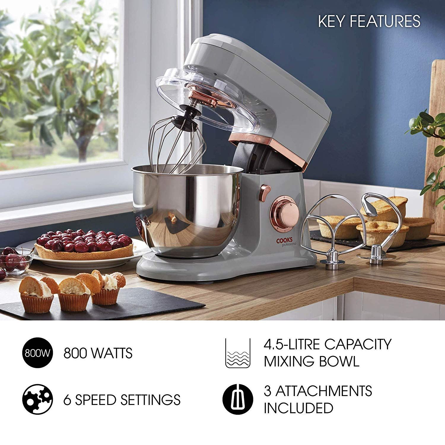 Cooks professional 800w electric kitchen stand food mixer