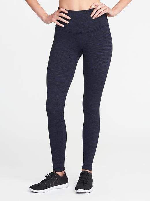 0a62d2db1249b6 Old Navy Women's High-Rise Stripe-Melange Leggings Soft Black Stripe ...