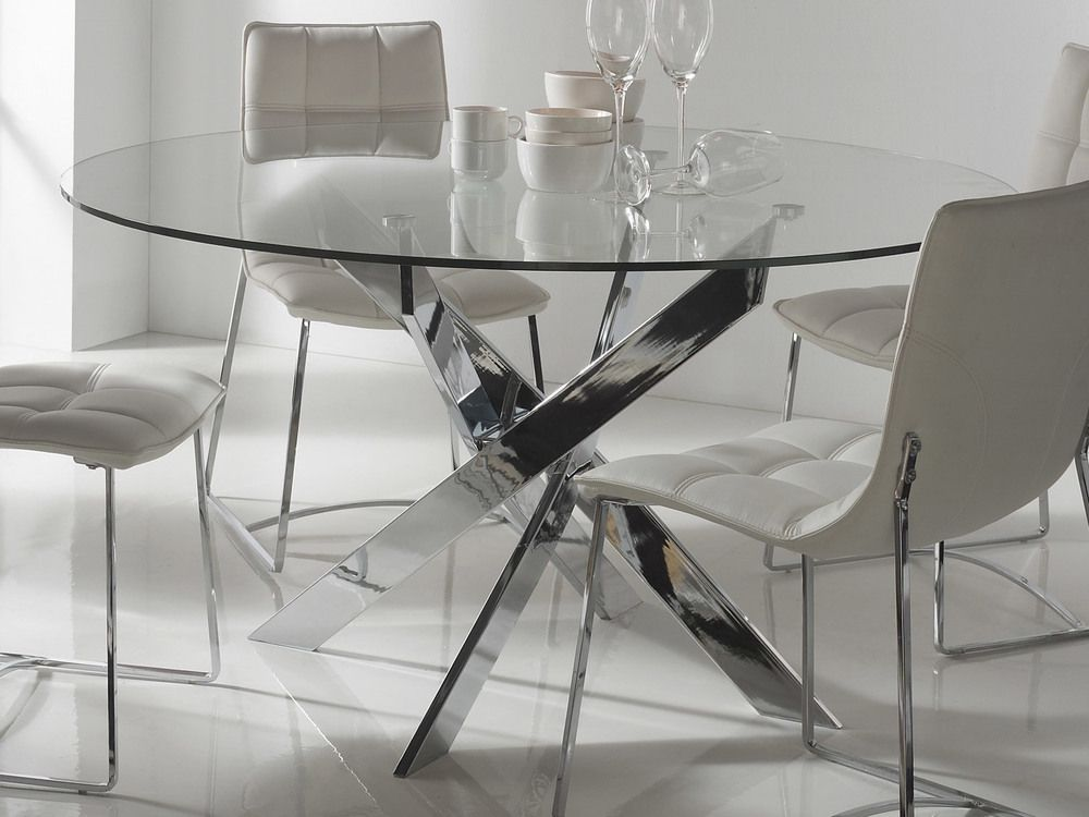 Finest Table Manger Ronde En Mtal Et Verre Tremp York With Verre De Table