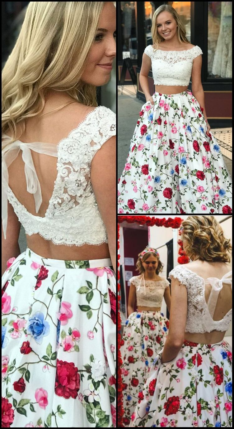 Two piece bateau long floral prom dress with lace pockets in