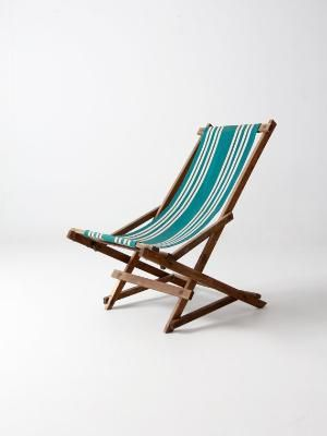 Vintage Rocking Deck Chair Wood Frame Beach By 86home Vintageandmain