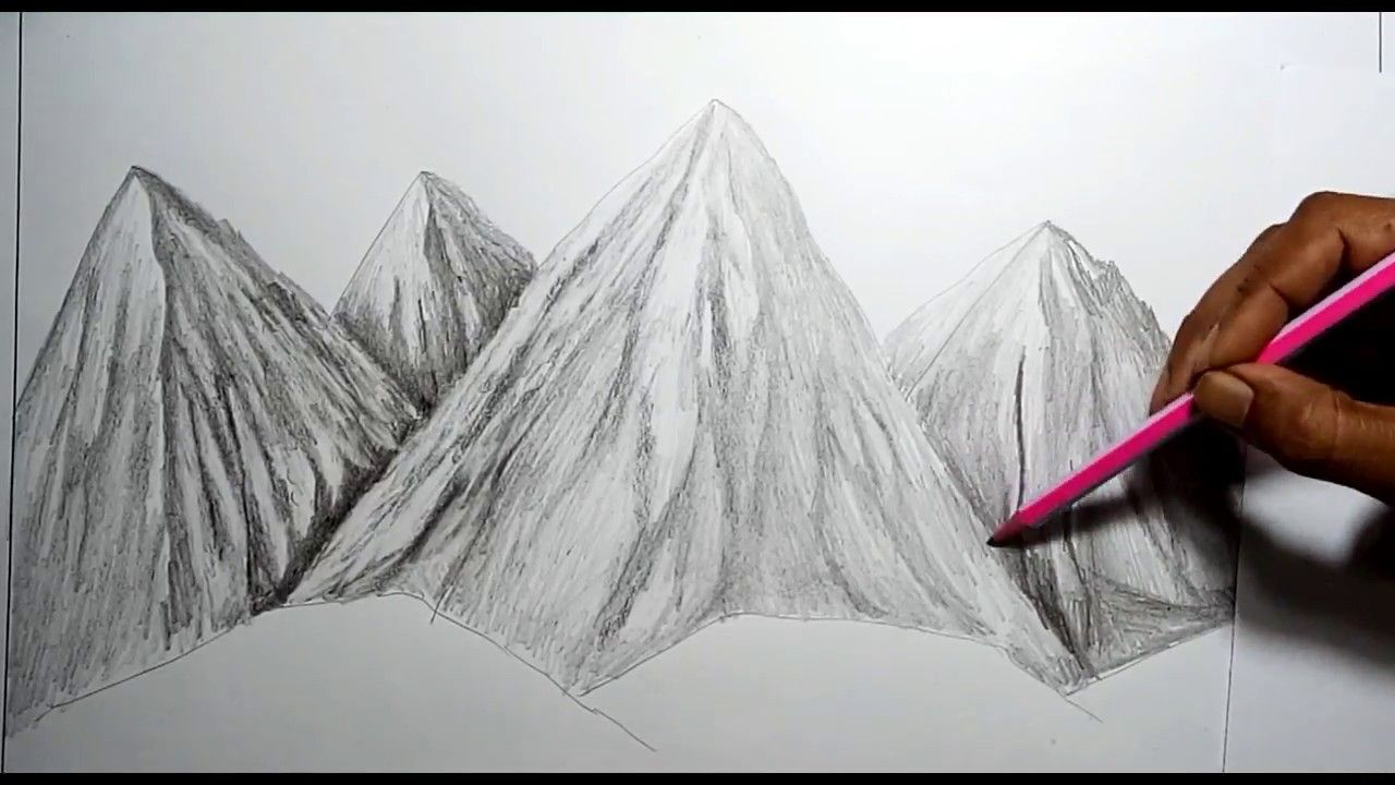 How To Draw A Mountain Landscape With Pencil Landscape Drawing Tutorial Landscape Drawings Mountain Landscape Drawing