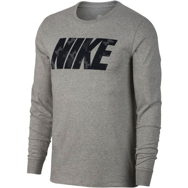 db6147d2 Men's Nike Large Logo Tee ($25) ❤ liked on Polyvore featuring men's fashion,  men's clothing, men's shirts, men's t-shirts, grey, mens leopard print t  shirt ...