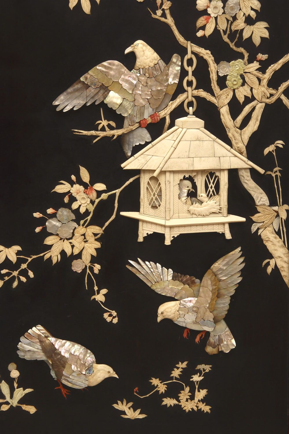 Detail of a mother of pearl & ivory Chinoiserie Screen
