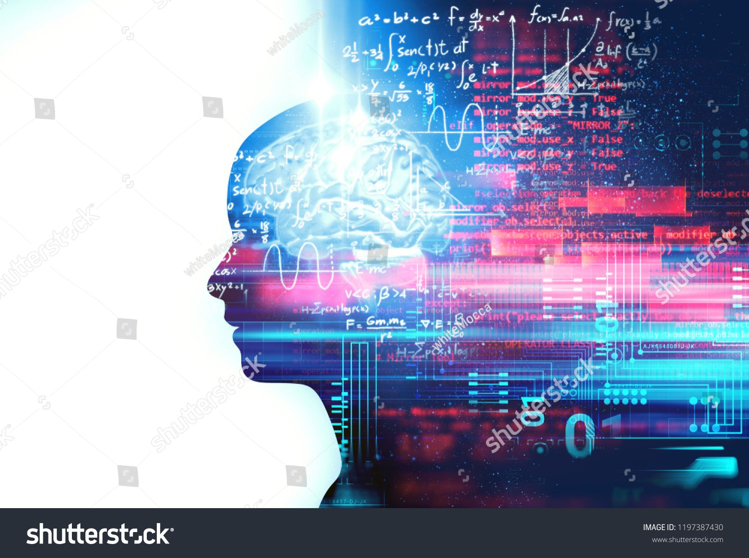 Silhouette Of Virtual Human On Handwritten Equations 3d