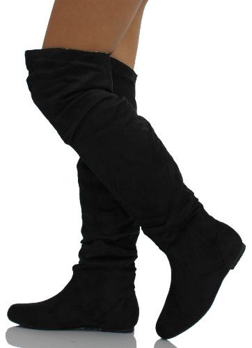 Flat Black Suede Knee High Boots