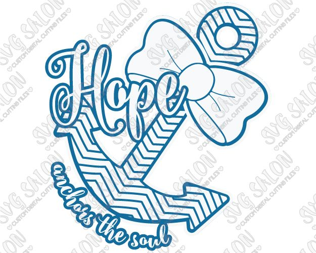 Hope Anchors The Soul Southern Chevron Bow Christian Custom DIY - Custom vinyl decals diy