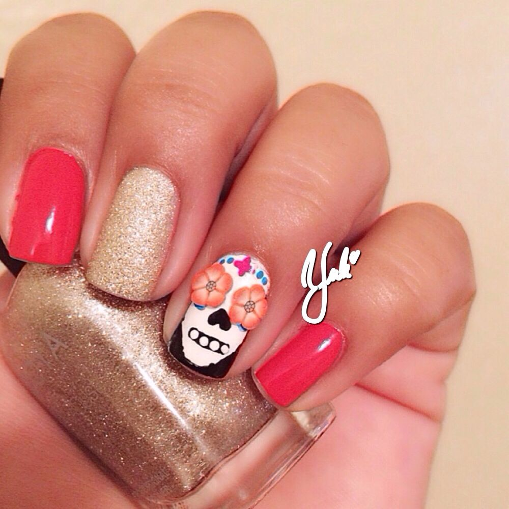 Dia de los muertos nails. Sugar skull nails. | Nails diy & ideas ...