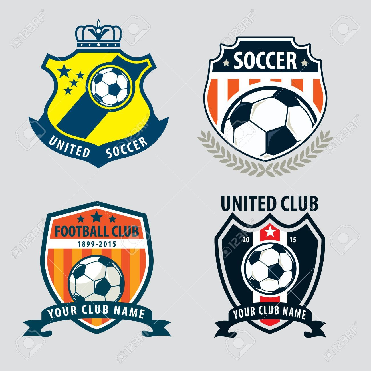 Football Badge Logo Template Collection Design Soccer Team Vector Illuatration Ad Template Collection Logo Football Badge Logo Logo Templates Logos
