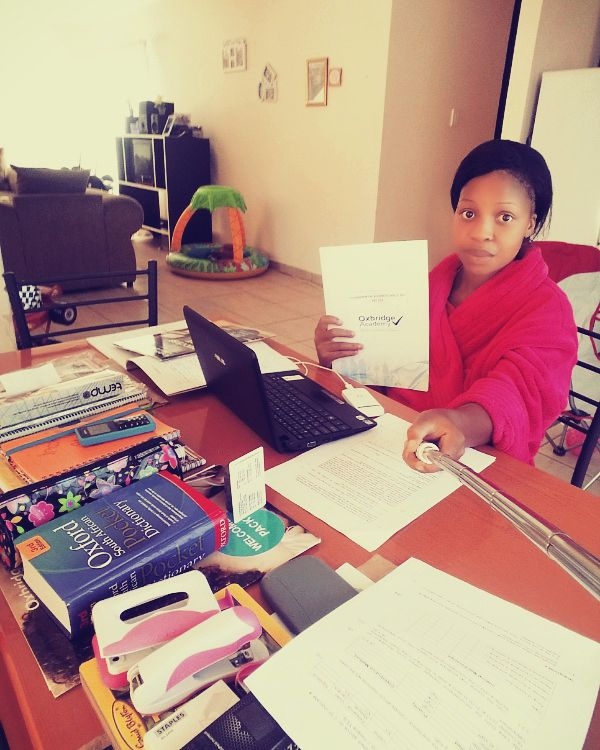 Eulendah Thabile Khan busy with her Business Administration studies