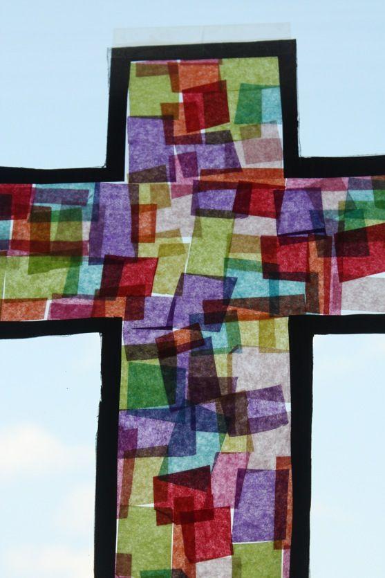 Cross Suncatcher Craft With Tissue Paper