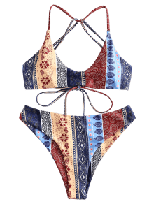 f05ef42aae  30% OFF   HOT  2019 ZAFUL Floral Paisley Strappy Bikini Set In