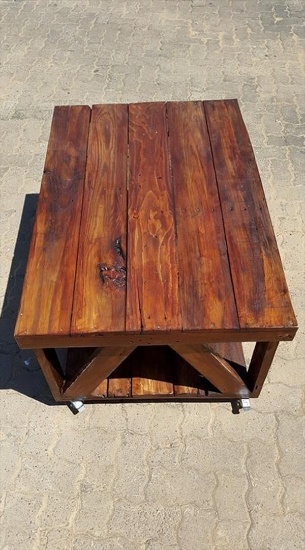 Rolling Coffee Table Made Of Pallets Coffee Table Pallet Coffee Table Pallette Furniture