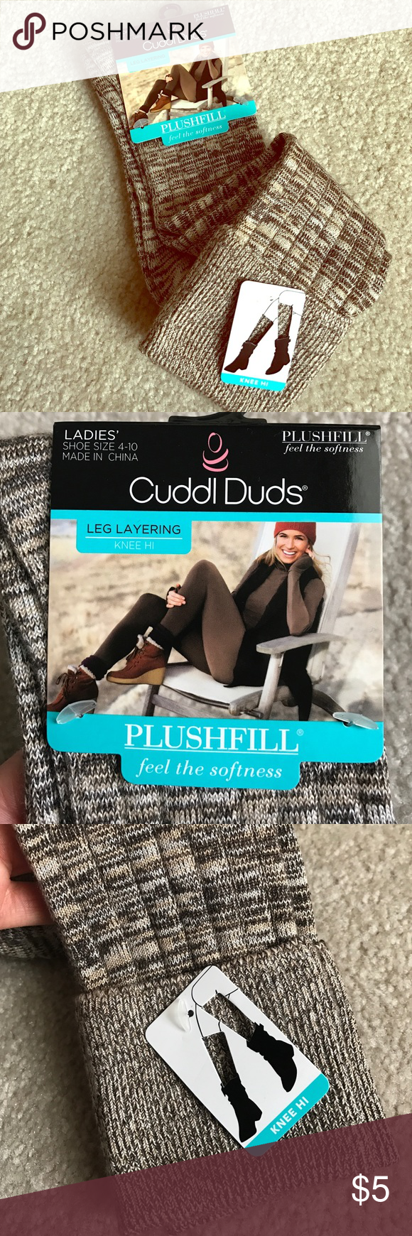 Boot sockS Brown and tans knee high, boot socks, nwt! Shoe sizes 4-10 cuddl duds Accessories Hosiery & Socks