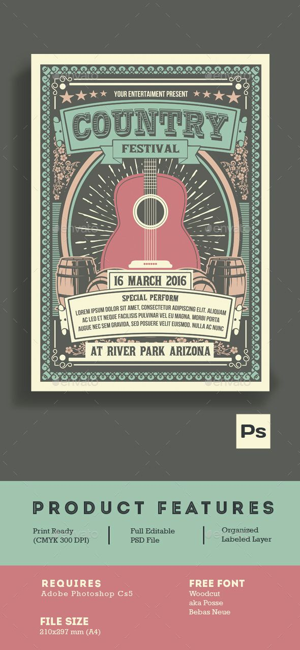 Vintage Country Music Festival Country Music Festival Music Festival Poster Music Poster Design