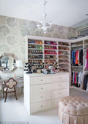 Closet With Wallpaper Ottoman Vanity