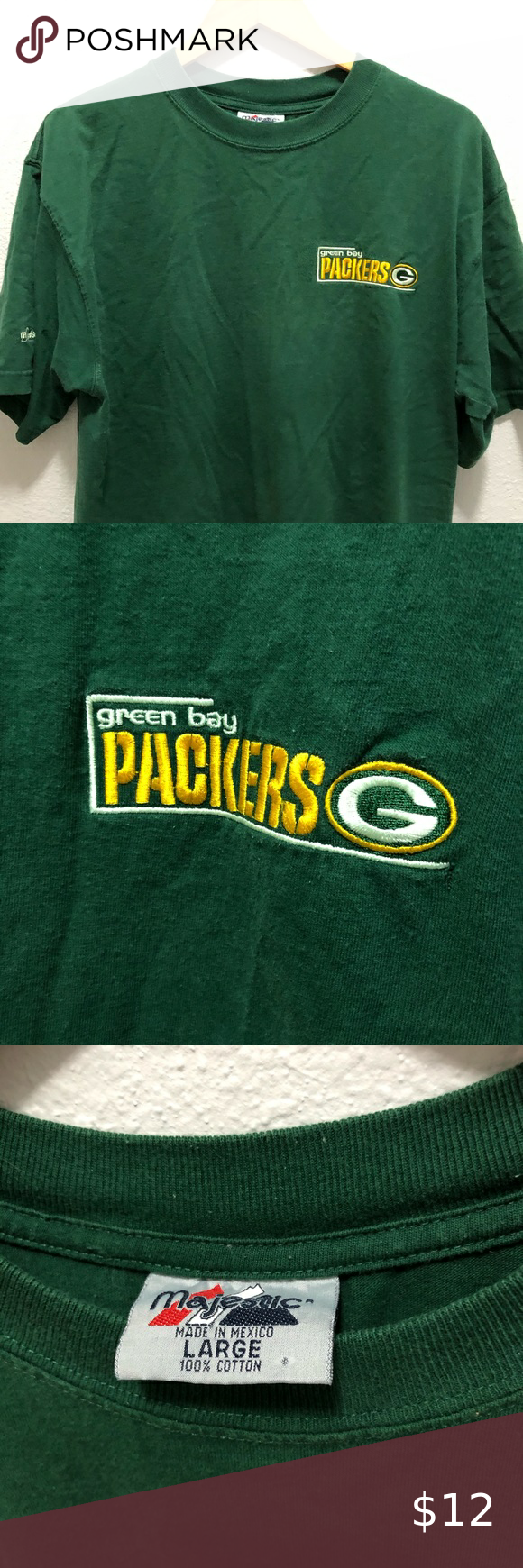 Vintage Green Bay Packers Tee Stitched Majestic Green Bag Packers Vintage Tee Left Chest Packers Logo Overall Quality 8 10 Over Green Bay Packers Vintage Green Green Bag