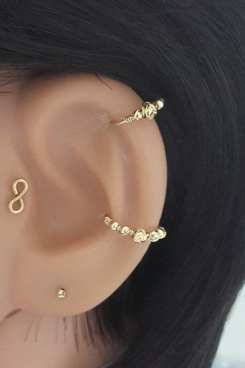 14k gold filled beaded helix earring helix hoop gold. Black Bedroom Furniture Sets. Home Design Ideas