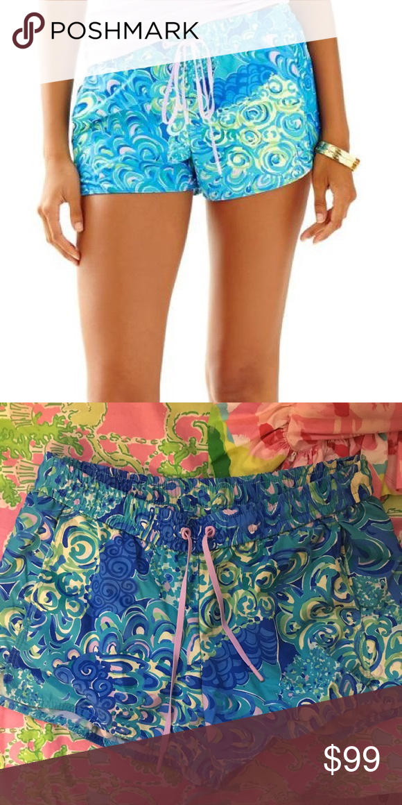 061716da2dab09 Lilly Pulitzer Lilly's lagoon luxletic shorts xs Lilly Pulitzer Lilly's  lagoon Luxletic run around shorts size