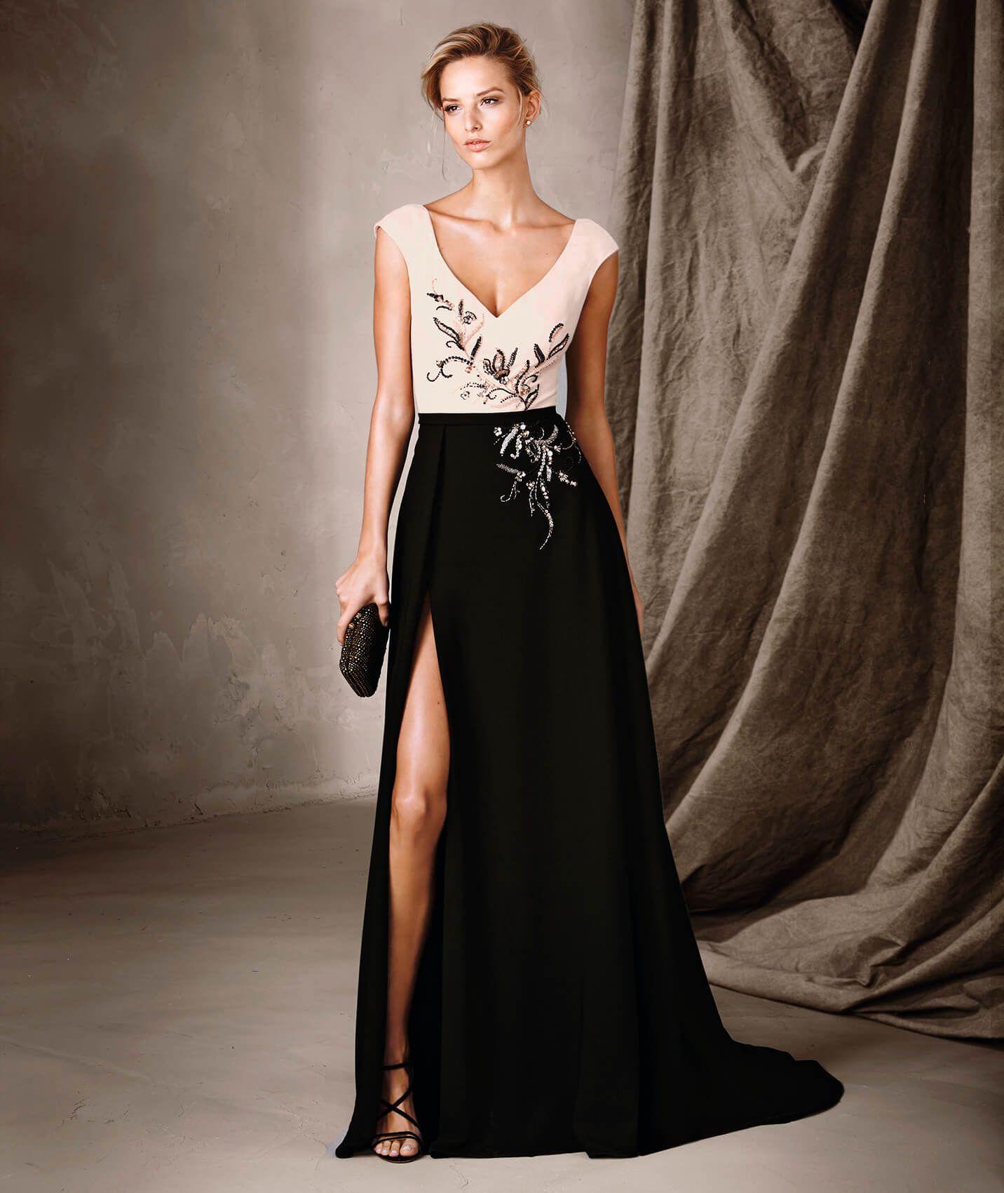 537e091c89841 CELESTE - Vestido bicolor largo y escote en V Pronovias