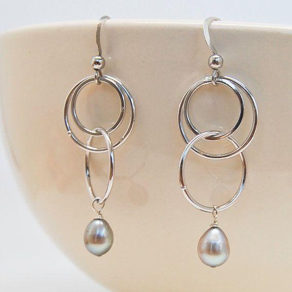 Photo of Modern Circle Earrings  Gray Pearl Earrings  Non Tarnish | Etsy
