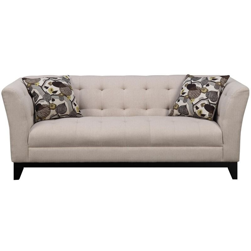 Marion Cream Chenille Tufted Sofa With Wood Trim | Weekends Only Furniture  And Mattress