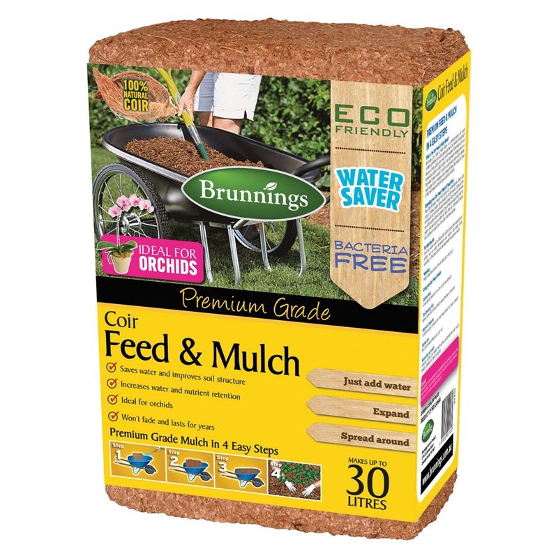 Brunnings 30L Coir Feed And Mulch Block Mulch, Coir
