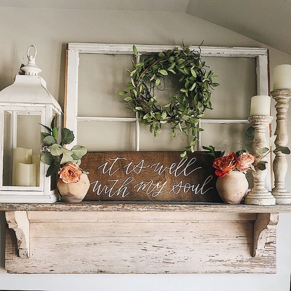 A Farmhouse Shelf Styled Three Different Ways - She Gave It A Go
