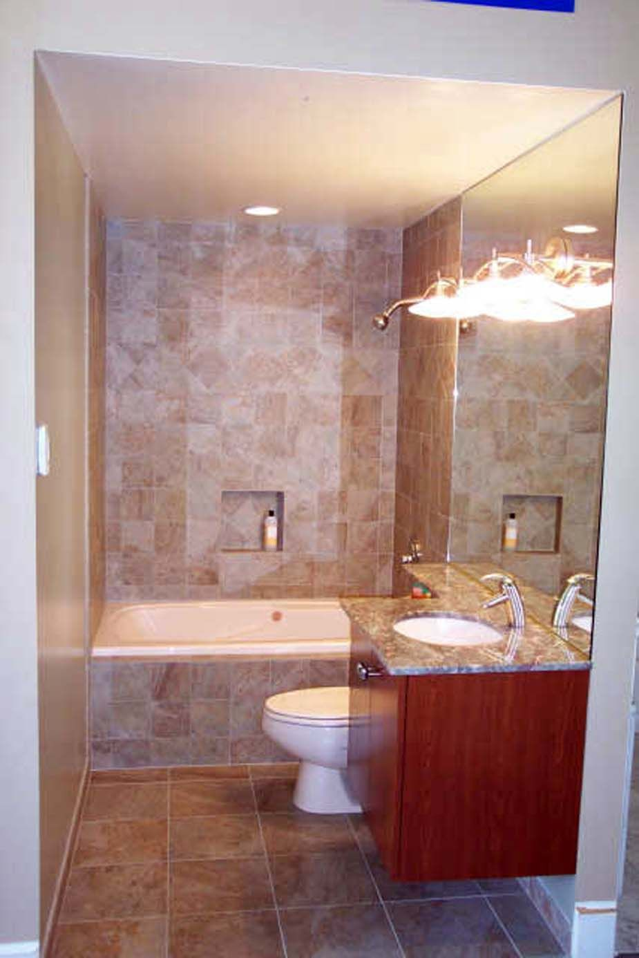 Enticing small bathroom idea with floating wood vanity for Small marble bathroom