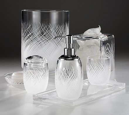 "Sirena"" Features Handcut Tendrils That Seem To Float On Sparkling Pleasing Clear Bathroom Accessories Inspiration Design"