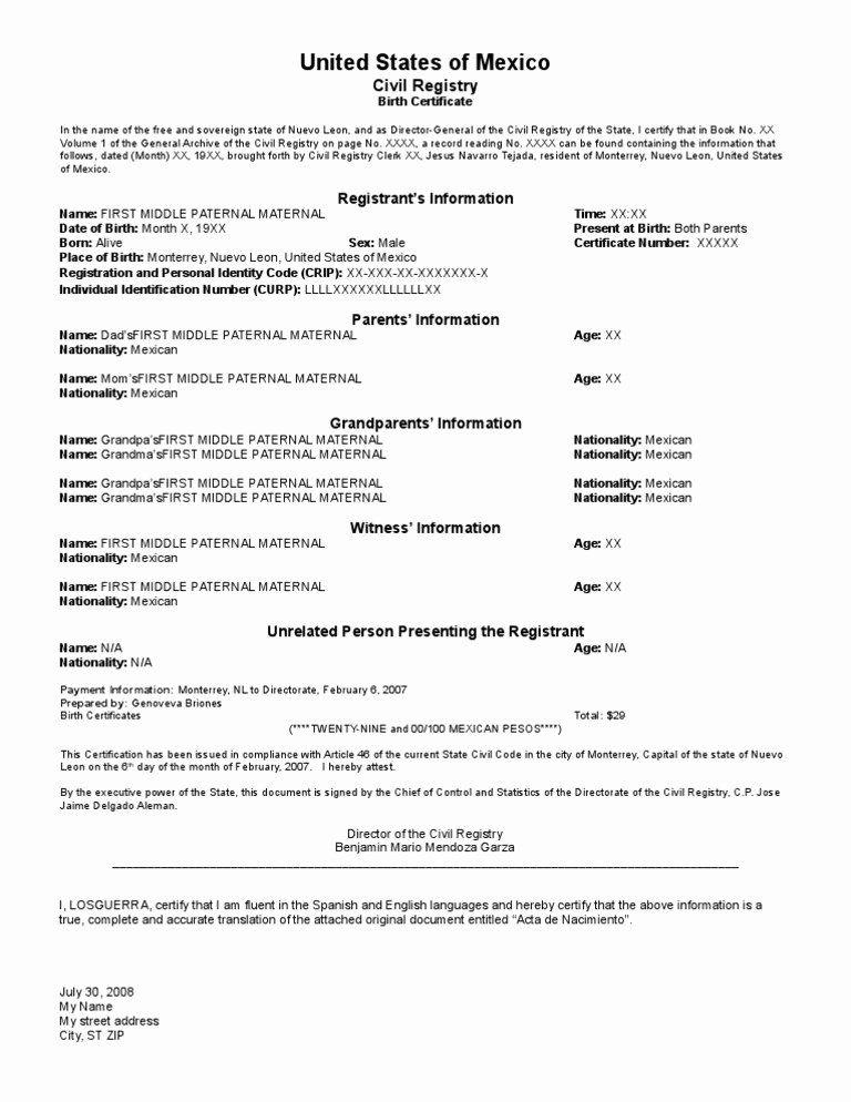 Divorce Certificate Translation From Spanish To English Template Lovely Samplebc Translation Mexic In 2020 Birth Certificate Birth Certificate Template Spanish English