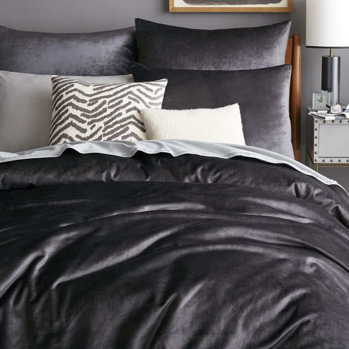 on sale west elm washed luster velvet duvet cover shams if these look as nice in person as they do in this pic i have to have one