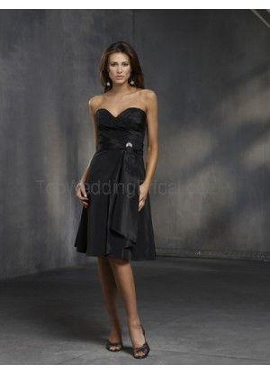 Elegant A-line Strapless Sweetheart Beading Taffeta Cocktail Dress