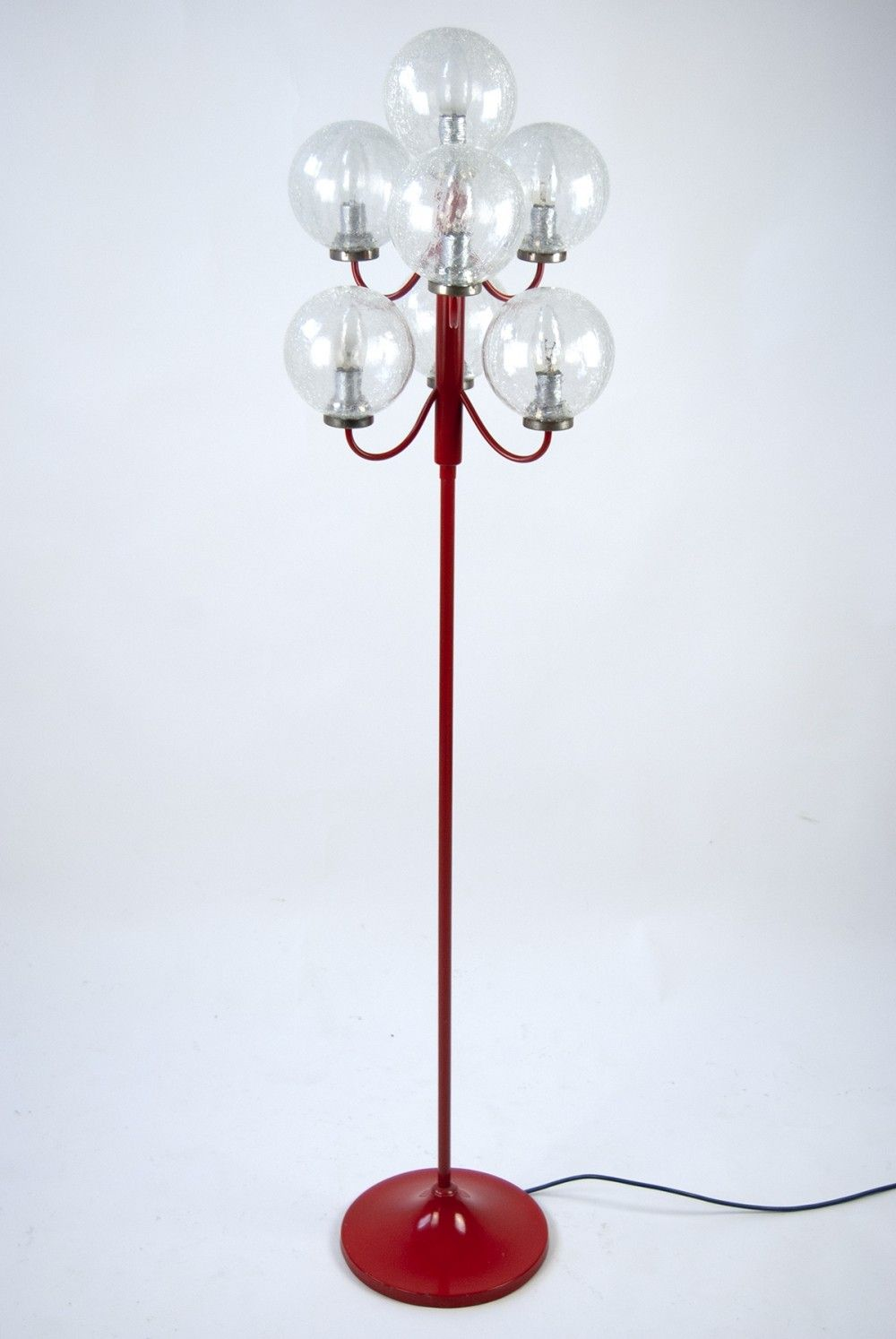 Vintage Red Floor Lamp By Kaiser Leuchten From 1960s With 7 Glass Balls Lamp Red Floor Lamp Glass Ball
