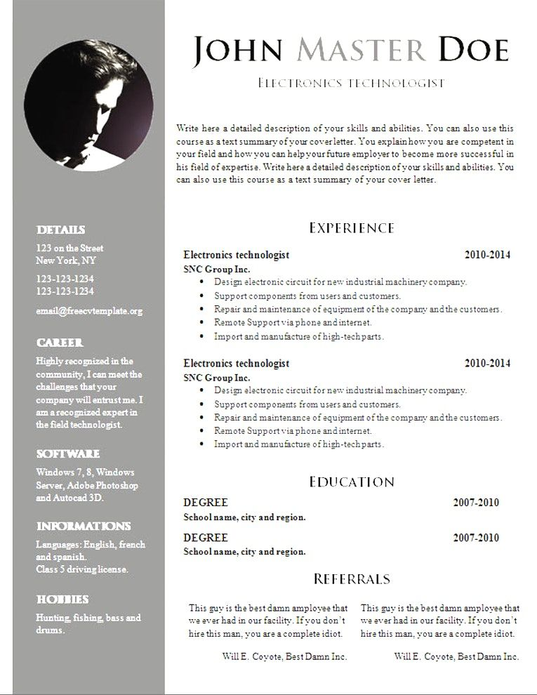 Free Resume Templates 2018 Doc