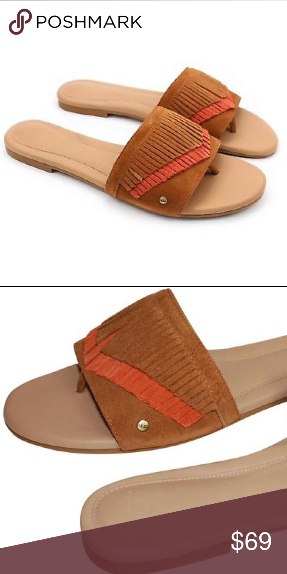 2c9a9dbb7ce Ugg binx fringe thong sandal Color :chestnut Same day shipping ...