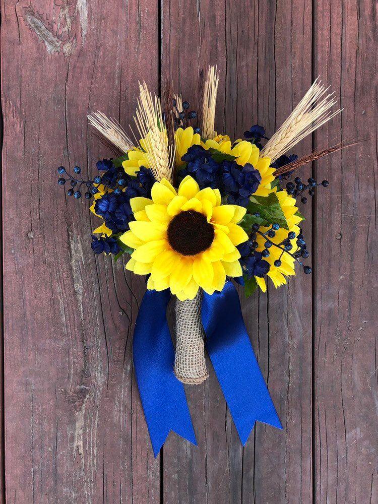 Navy Blue Rustic Sunflower Bouquet, Silk Wedding Flowers