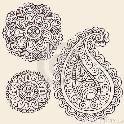 Hennastrauch Mehndi Paisley Blumen Gekritzel Auslegung Tattoos