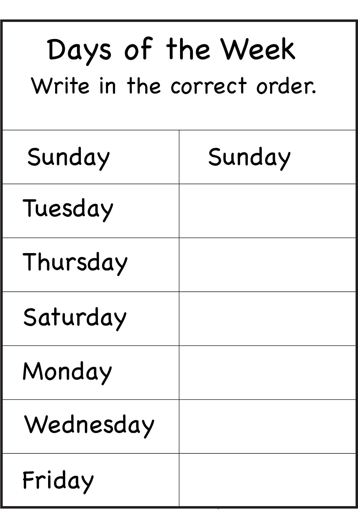 Days Of The Week Worksheets School Things Kindergarten