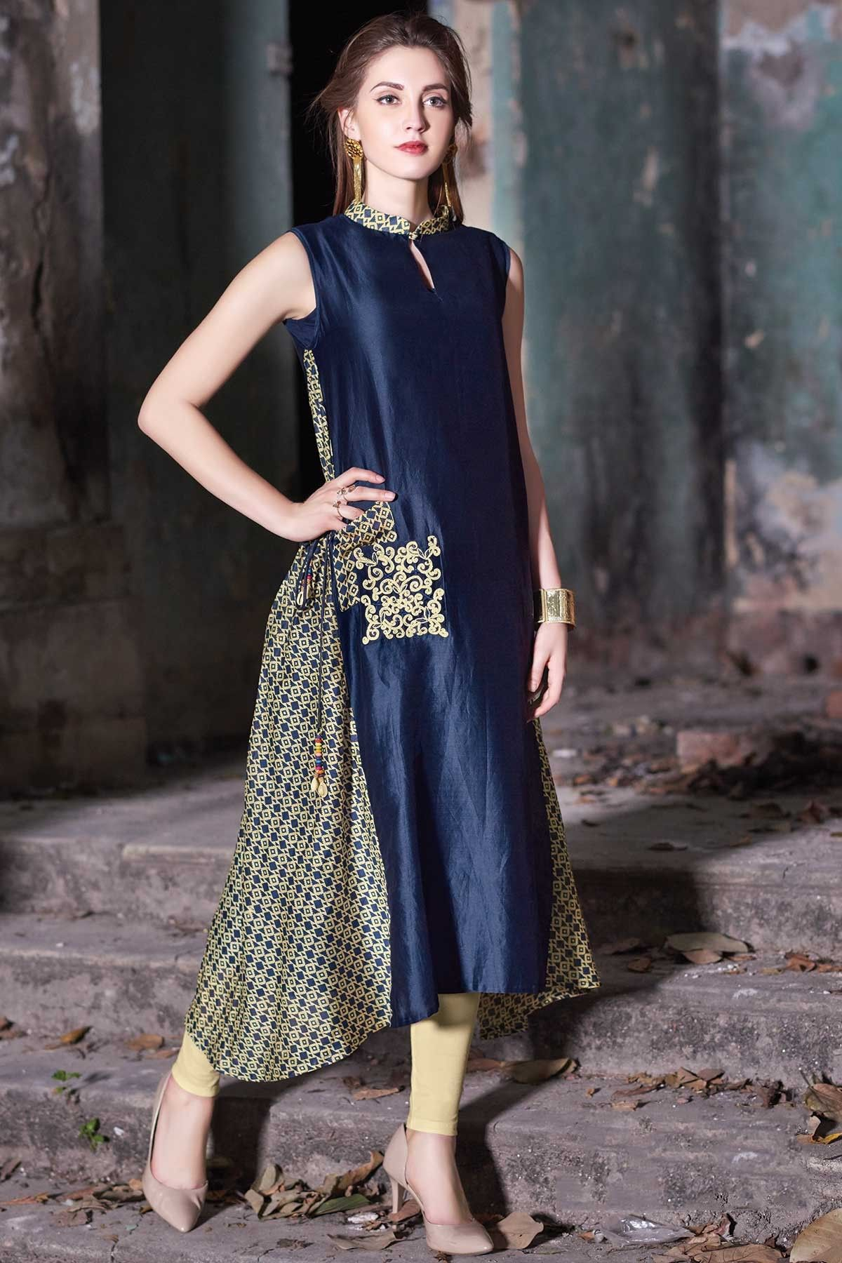 75a8c66e0a8 Samyakk Blue Silk printed Trail Cut Kurti