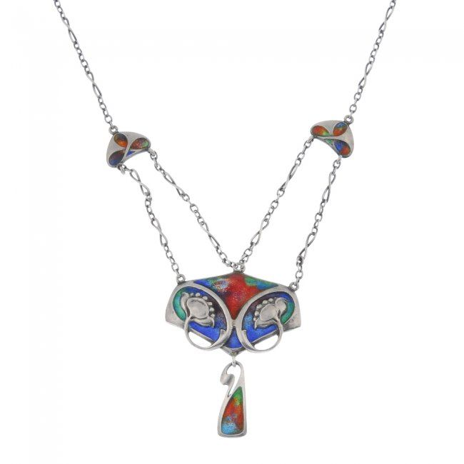 MURRLE BENNETT & CO. - a silver and enamel necklace. : Lot 214