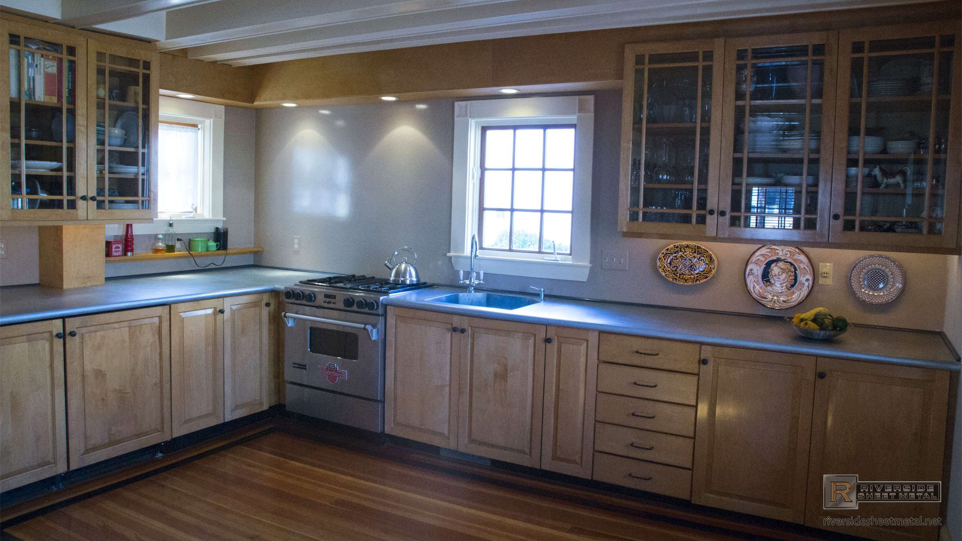 zinc counter top with integrated sink and bullnose edge countertops zinc kitchen cabinets on kitchen zinc id=38628