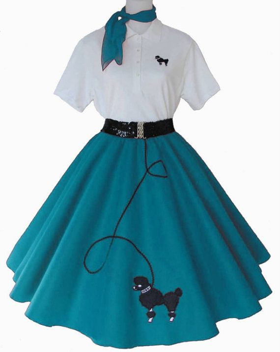 Womens 4 Pc 50s POODLE SKIRT OUTFIT For By HipFiftiesFashion