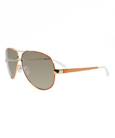 Look what I found on #zulily! Orange & White Aviator Sunglasses #zulilyfinds